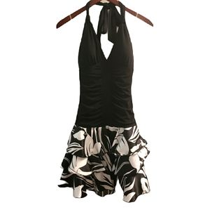 Black & white halter dress